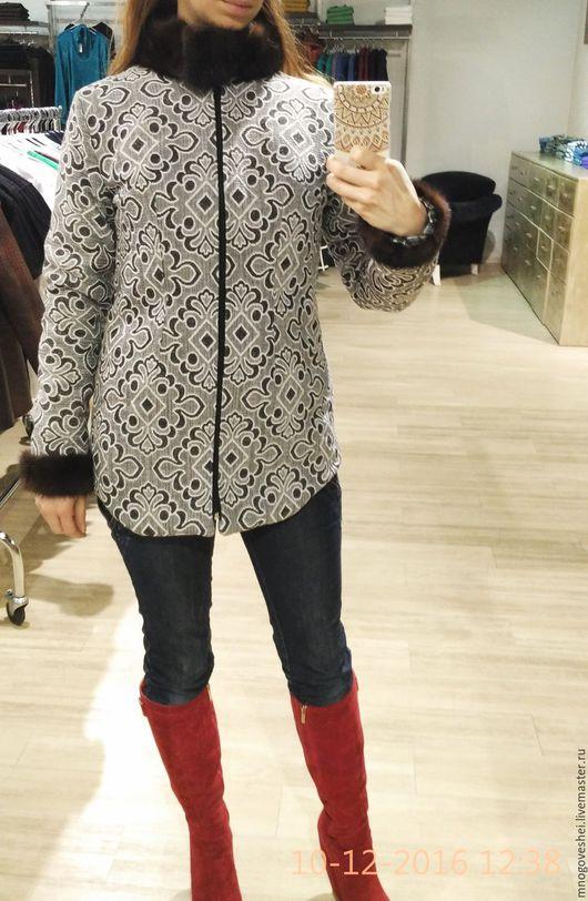 Верхняя одежда ручной работы. Ярмарка Мастеров - ручная работа. Купить Зимняя удлиненная куртка с мехом норки. Handmade. Серебряный