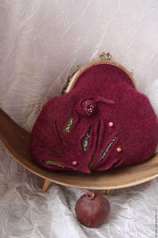 Женские сумки ручной работы. Ярмарка Мастеров - ручная работа. Купить сумка валяная Цветок граната. Handmade. сумка валяная