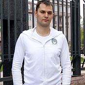 Одежда handmade. Livemaster - original item Men`s white zipper t-shirt with a hood, t-shirt with a bear.. Handmade.