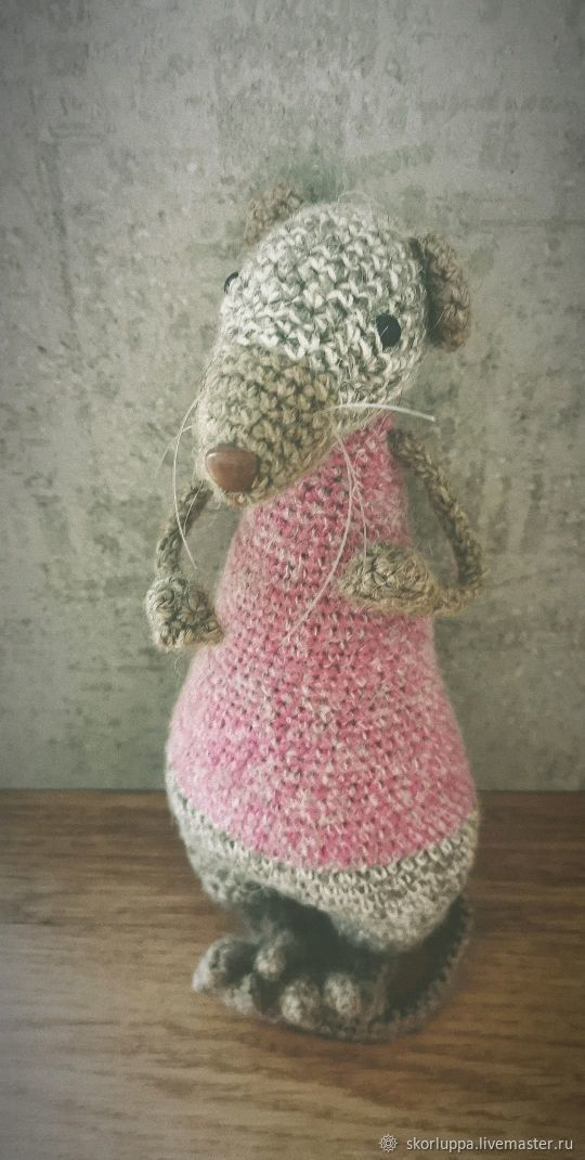 Interior toy Rat author's knitted handmade, Stuffed Toys, St. Petersburg,  Фото №1