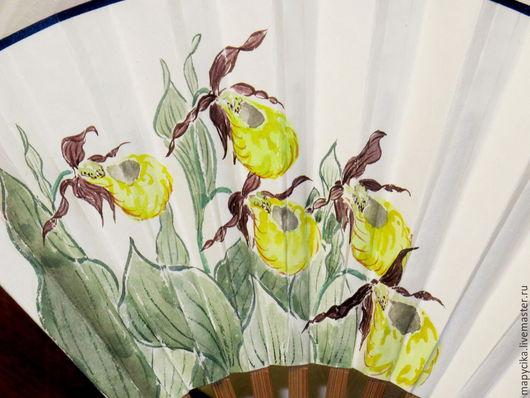 """Веера ручной работы. Ярмарка Мастеров - ручная работа. Купить Веер """"Венерин башмачок"""". Handmade. Веер, Живопись, весна, подарок"""