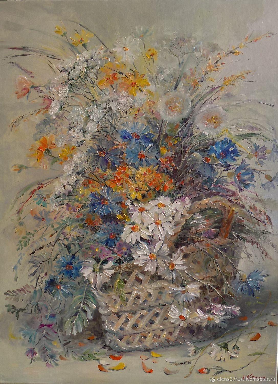 Цветы в корзине.Холст/масло, Картины, Иваново,  Фото №1