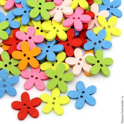 """Шитье ручной работы. Ярмарка Мастеров - ручная работа. Купить Пуговицы деревянные """"Цветочки однотонные"""" маленькие. Handmade. Разноцветный"""