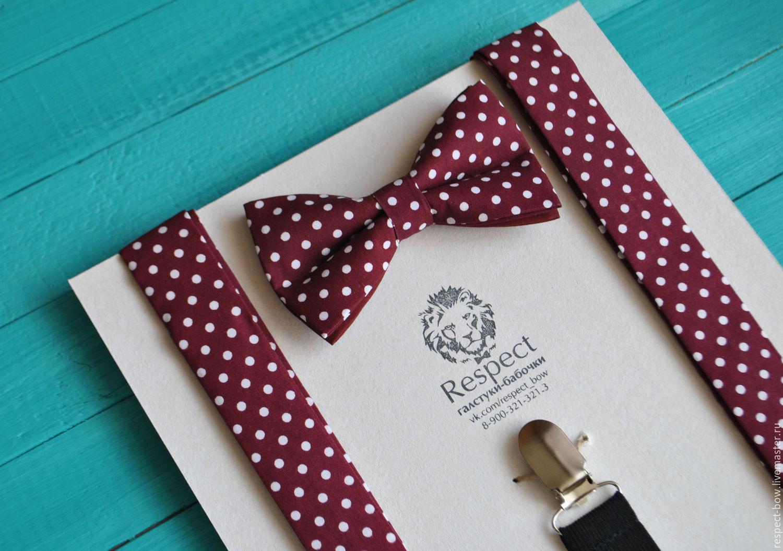 Burgundy tie polka dot Suspenders Burgundy / Set Bridget, Straps, Moscow,  Фото №1