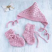 Аксессуары handmade. Livemaster - original item Knitted set cap and socks for girls pink on discharge. Handmade.