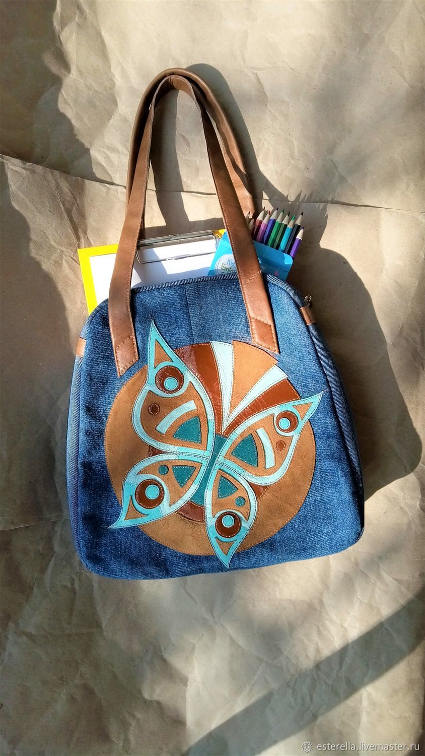 Denim bag 'Butterfly', Classic Bag, Moscow,  Фото №1