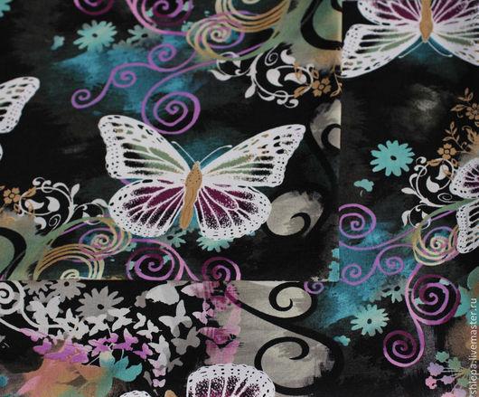 """Шитье ручной работы. Ярмарка Мастеров - ручная работа. Купить Ткань для пэчворка """"Диковинные бабочки"""". Handmade. Темно-серый, сиреневый"""