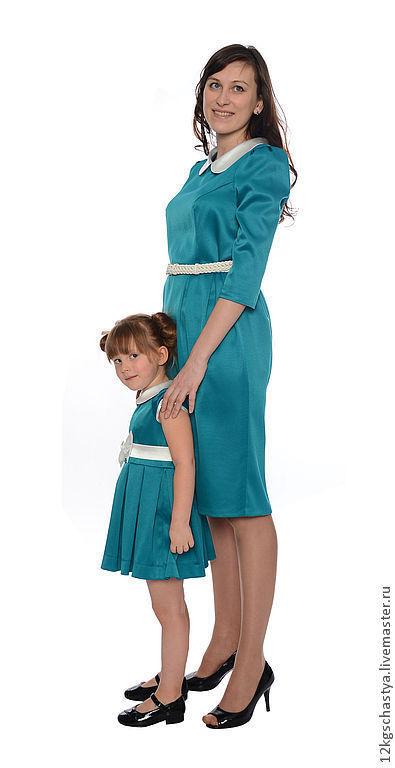 """Платья ручной работы. Ярмарка Мастеров - ручная работа. Купить Платья для мамы и дочки """"Нежность"""", комплект. Handmade. Морская волна"""