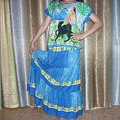 Одежда ручной работы. Ярмарка Мастеров - ручная работа Комплект Юбка и Блуза Черные Пантеры длинная ярусная синяя. Handmade.
