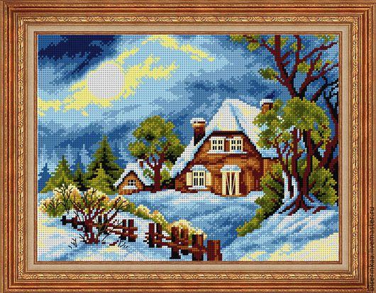 Схема вышивки бисером с полной зашивкой `Зима за окошком`