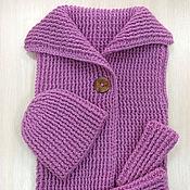 """Одежда ручной работы. Ярмарка Мастеров - ручная работа Комлект """"Модница"""": жилет, шапка и митенки. Handmade."""