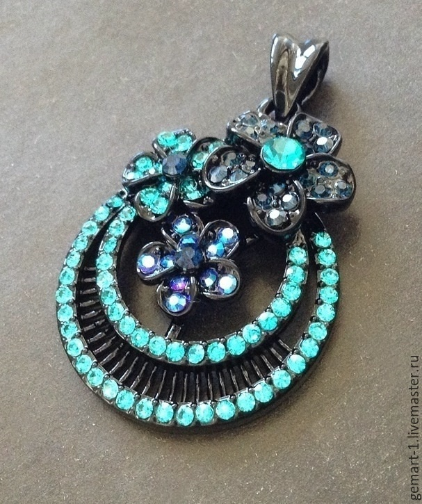 Pendant pendant art. 7-61 round with crystals. Made In Italy, Pendants, Moscow,  Фото №1