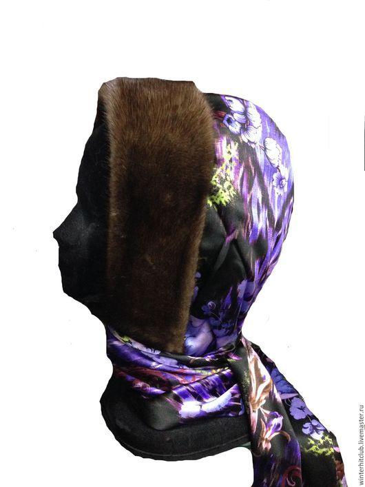 Шапки ручной работы. Ярмарка Мастеров - ручная работа. Купить Утепленный шелковый капюшон с норкой орех. Handmade. Тёмно-фиолетовый