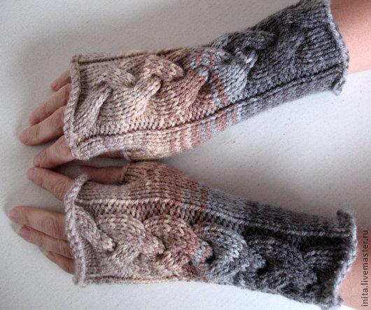 Варежки, митенки, перчатки ручной работы. Ярмарка Мастеров - ручная работа. Купить Митенки,перчатки без пальцев (бежевый, коричневый,серый). Handmade.
