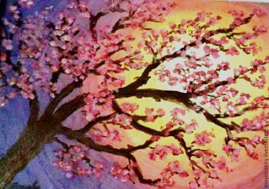 Пейзаж ручной работы. Ярмарка Мастеров - ручная работа. Купить Сакура,  акрил. Handmade. Комбинированный, акриловые краски