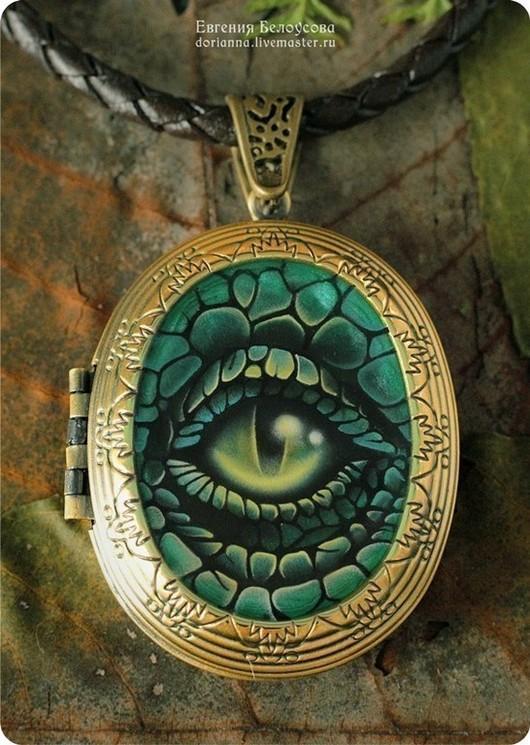 """Кулоны, подвески ручной работы. Ярмарка Мастеров - ручная работа. Купить Кулон-медальон с росписью """"Хранитель секретов"""" (глаз дракона). Handmade."""
