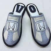 """Обувь ручной работы. Ярмарка Мастеров - ручная работа Кожаные тапочки """"Хонда""""- серебро.. Handmade."""