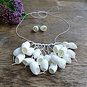 Jewelry Sets handmade. Livemaster - original item Necklace white silk cocoons unusual wedding necklace. Handmade.