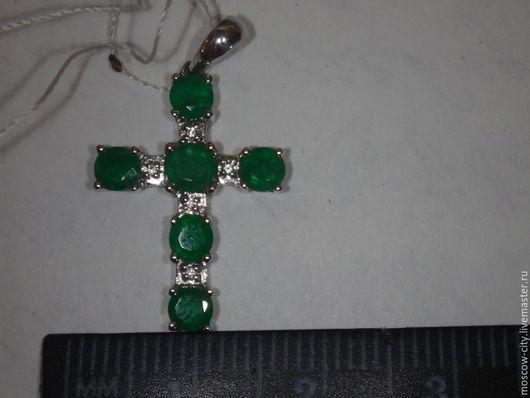 Кулоны, подвески ручной работы. Ярмарка Мастеров - ручная работа. Купить крест с изумрудами. Handmade. Крест с изумрудами, кулон изумруд