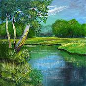 Картины и панно ручной работы. Ярмарка Мастеров - ручная работа Картина Березы над рекой. Handmade.