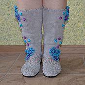 """Обувь ручной работы. Ярмарка Мастеров - ручная работа Сапожки вязаные""""голубика"""". Handmade."""