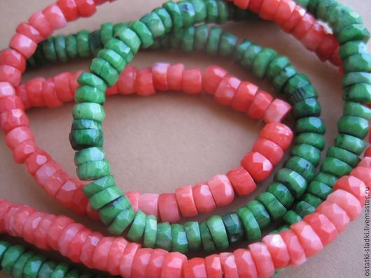 Для украшений ручной работы. Ярмарка Мастеров - ручная работа. Купить Коралл рондель граненый, оранжевый и зеленый. Handmade. Зеленый