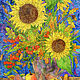 Bright bouquet of sunflowers and leaves Picture for home, Pictures, St. Petersburg,  Фото №1