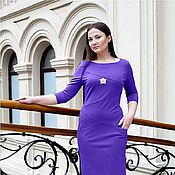 Одежда handmade. Livemaster - original item Dress with pockets Jersey - purple. Handmade.