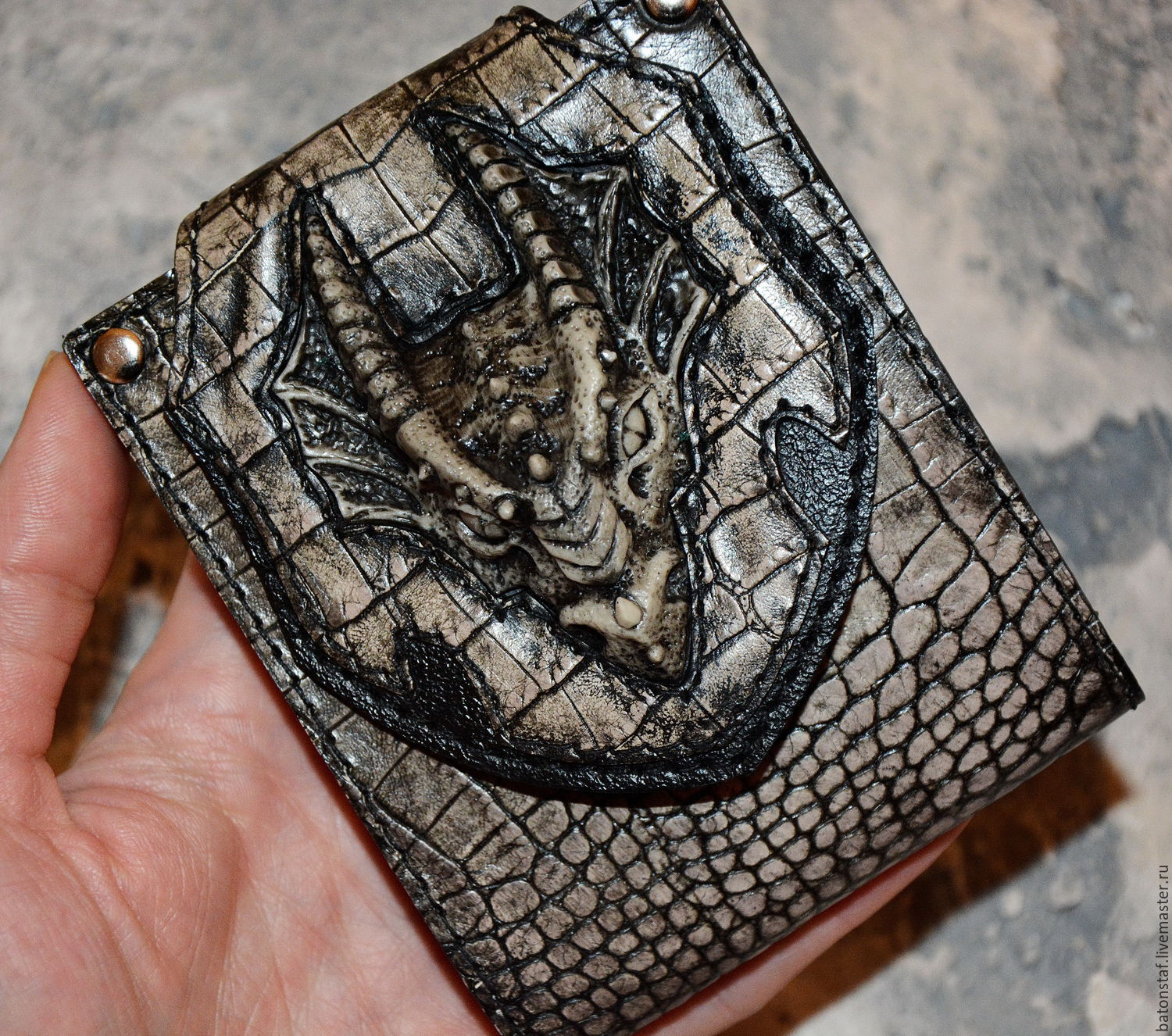 Dragon - leather purse . Purse with Dragon, Subculture Attributes, Moscow,  Фото №1