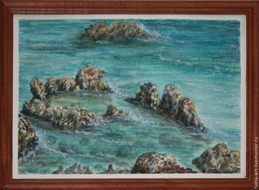"""Пейзаж ручной работы. Ярмарка Мастеров - ручная работа. Купить пейзаж акварель,  """"Кипр. Капарис"""", пейзаж, Греция, картина акварелью. Handmade."""