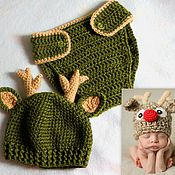 Работы для детей, ручной работы. Ярмарка Мастеров - ручная работа для фотосессии новорожденных Олененок. Шапочка для новорожденного. Handmade.