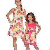 Одежда ручной работы. Ярмарка Мастеров - ручная работа Одинаковые платья для мамы и дочки с цветочным принтом, комплект. Handmade.
