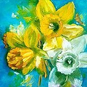 Картины и панно handmade. Livemaster - original item Oil painting Bouquet of daffodils. Handmade.