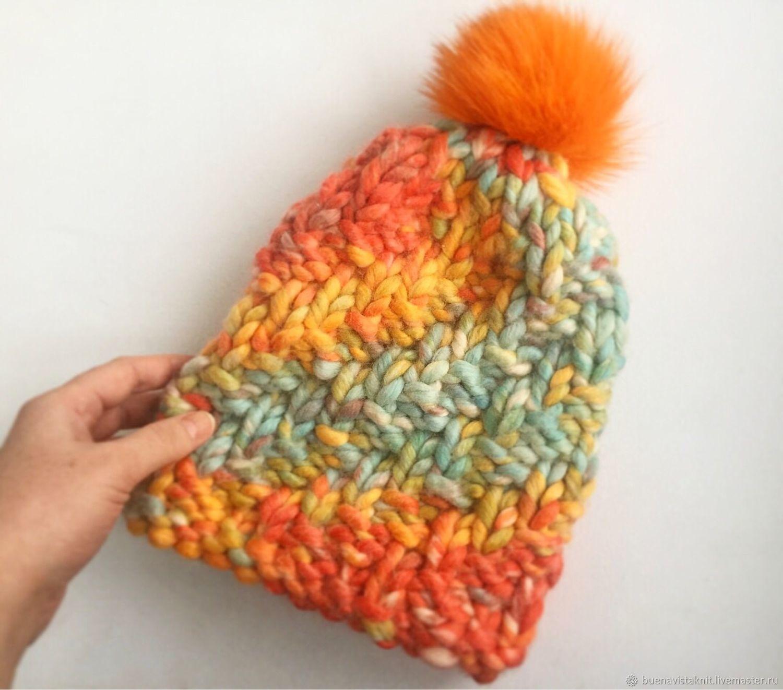 Hat CA.Multi-colored hat. Hat knit. Hat with pompom. Dobryninskaya Manufactory
