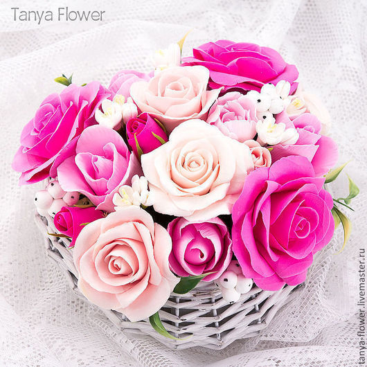"""Букеты ручной работы. Ярмарка Мастеров - ручная работа. Купить Букет """"Сердце из роз"""". Розы, Тюльпаны, Цветы яблони, Снежные ягоды.. Handmade."""