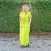 Платья ручной работы. Ярмарка Мастеров - ручная работа Льняное платье Неон. Handmade.