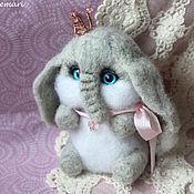 Куклы и игрушки handmade. Livemaster - original item Elephant with crown toy from wool. Handmade.
