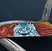 Bead bracelet handmade. Livemaster - original item Leather bracelet, embossed, Cheshire cat. Handmade.