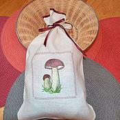 Для дома и интерьера handmade. Livemaster - original item Linen bag for mushrooms