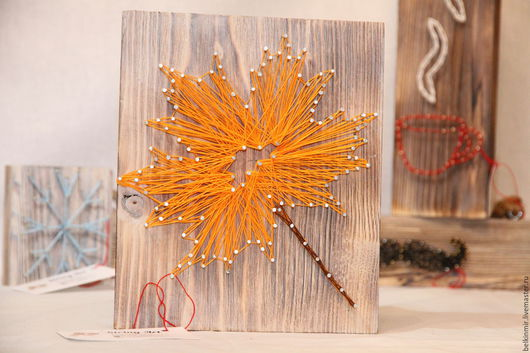 Пейзаж ручной работы. Ярмарка Мастеров - ручная работа. Купить Кленовый Лист. Handmade. Оранжевый, панно, картина для интерьера, картина