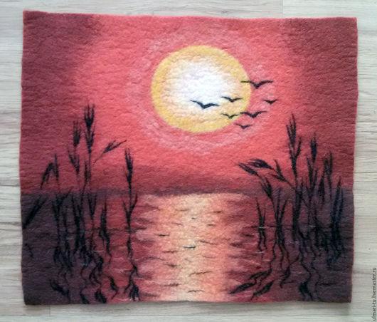 Банные принадлежности ручной работы. Ярмарка Мастеров - ручная работа. Купить коврик для бани валяный  Пейзаж, закат. Handmade.