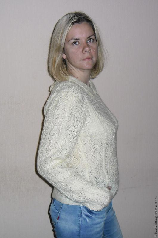 Кофты и свитера ручной работы. Ярмарка Мастеров - ручная работа. Купить кофта женская ажурная. Handmade. Кремовый, шерсть с акрилом