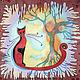 Фантазийные сюжеты ручной работы. Ярмарка Мастеров - ручная работа. Купить панно Кошка. Handmade. Шелк, шелковый шарф, панно