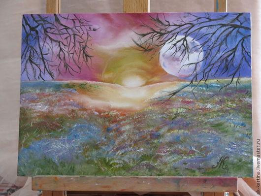 """Пейзаж ручной работы. Ярмарка Мастеров - ручная работа. Купить """"Луна и Солнце"""". Handmade. Разноцветный, картина маслом, подарок девушке"""