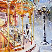 """Картины и панно ручной работы. Ярмарка Мастеров - ручная работа картина """"Зимние забавы. Карусель"""". Handmade."""