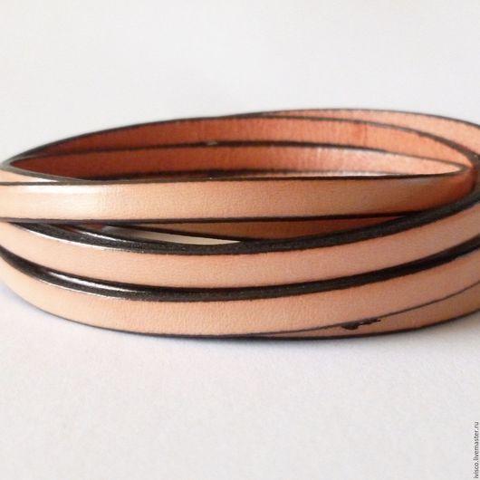 Для украшений ручной работы. Ярмарка Мастеров - ручная работа. Купить Кожаный шнур 5х2мм светло-абрикосовый матовый. Handmade.