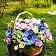 Интерьерные композиции ручной работы. Корзинка с цветами из полимерной глины. Floral Gift. Интернет-магазин Ярмарка Мастеров. Полимерная глина