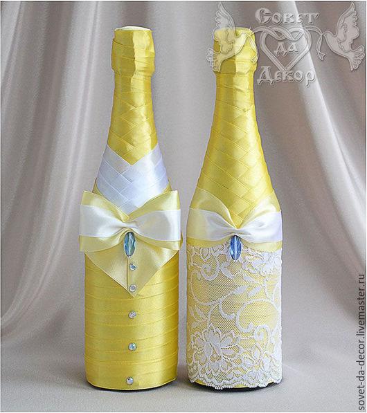 Свадебные аксессуары ручной работы. Ярмарка Мастеров - ручная работа. Купить Украшение свадебных бутылок в жёлтом цвете. Handmade. Свадьба
