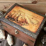 """Для дома и интерьера ручной работы. Ярмарка Мастеров - ручная работа """"Морской""""  небольшой сундук для капитана. Handmade."""
