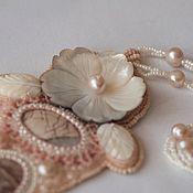 Украшения handmade. Livemaster - original item Pearl dust necklace with landscape Jasper and pink pearls. Handmade.